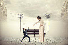 Quarrel between man and angry woman Royalty Free Stock Photo