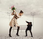 Quarrel between the man and the woman Stock Image
