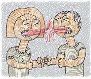 Quarrel between man and woman conceptual hand-drawn stripy illus Royalty Free Stock Image