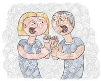 Quarrel between man and woman conceptual hand-drawn stripy illus Royalty Free Stock Photo