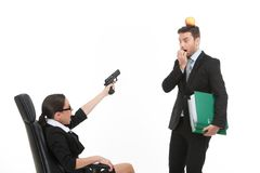 Quarrel between man and woman over white background. Royalty Free Stock Images