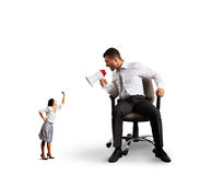 Quarrel between man and woman over white Stock Photo
