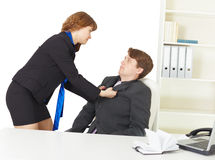 Quarrel of men at office Stock Images