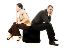 Quarrel between men and women Royalty Free Stock Image
