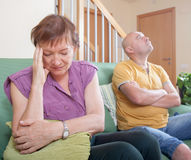 Quarrel between  mother and  son. Quarrel between an elderly mother and adult son Royalty Free Stock Photography
