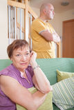 Quarrel between  mother and  son. Quarrel between an elderly mother and adult son Stock Photography