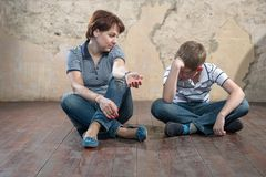 Quarrel. Mother and son having quarrel Royalty Free Stock Images