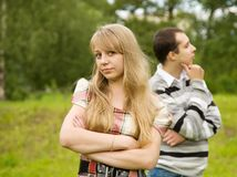 Quarrel in the park. Royalty Free Stock Images