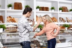 Quarrel in shop Royalty Free Stock Photo