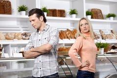 Quarrel in shop Royalty Free Stock Image