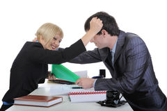 Quarrel of two business partners. Stock Photos