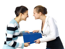 Quarrel of two business women Stock Images