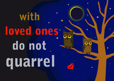 Quarrel of two lovers owls. The two lovers quarreling owls sitting in a tree on a background of a lunar eclipse. A poster with the inscription With loved ones do Stock Photography