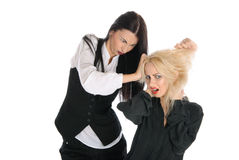 Quarrel of two women. Isolated in white Stock Photo