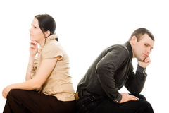 Quarrel between women and men. On a white background Royalty Free Stock Photography