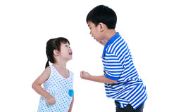 Quarreling conflict between the brother and sister. Isolated on. Quarreling conflict between brother and sister. Asian children are arguing and fighting. Concept Royalty Free Stock Photos