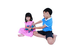 Quarreling conflict of sibling. Concept brawl in family. Isolate Stock Photos