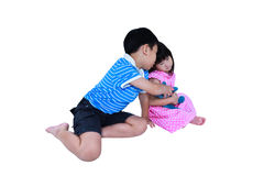 Quarreling conflict of sibling. Concept brawl in family. Isolate Royalty Free Stock Photo