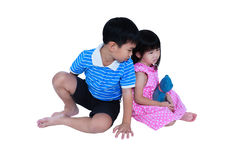 Quarreling conflict of sibling. Concept brawl in family. Isolate. Quarreling conflict of sibling. Unhappy asian girl has problem between her brother Royalty Free Stock Images