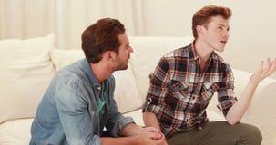 Quarreling between homosexual couple stock video footage