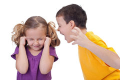 Quarreling kids - boy shouting to girl Royalty Free Stock Photography