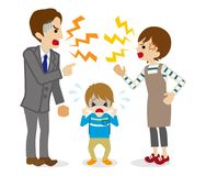 Quarreling Parents and crying son.  Stock Images