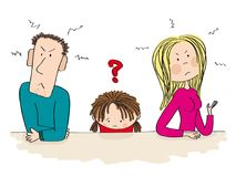 Quarreling parents. Their sad child is thinking about divorce. royalty free illustration
