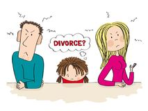 Quarreling parents. Their sad child is thinking about divorce. stock illustration