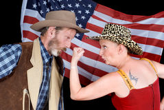 Quarrelling cowboy couple Royalty Free Stock Image