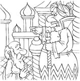 Quarrelsome old woman. Black-and-white illustration (coloring page): the old woman telling off her husband (fairy-tale characters Royalty Free Stock Photo