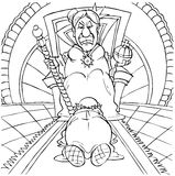 Quarrelsome queen. Black-and-white illustration (coloring page): the old queen sitting on a throne tells off an old man Stock Images