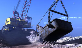 The quarry. Excavators working in the quarry Stock Photography