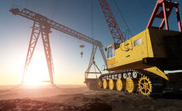 The quarry. Excavators working in the quarry Royalty Free Stock Image