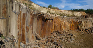 The quarry. Big basalt quarry basalt columns in Ukraine stock image