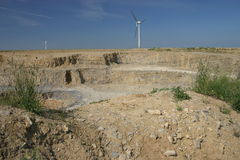 Quarry. With windmills Royalty Free Stock Photo