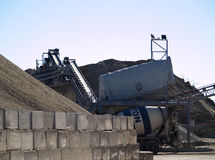 Quarry. A quarry with sand, stones truck and machinery royalty free stock image
