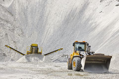 Quarry aggregate with heavy duty machinery. Construction industr Royalty Free Stock Image