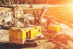 Quarry aggregate, heavy duty machinery. Construction industry Royalty Free Stock Image