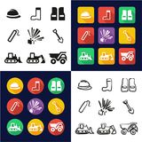 Quarry All in One Icons Black & White Color Flat Design Freehand Set Stock Photos
