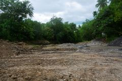 Quarry area in Bulatukan river, New Clarin, Bansalan, Davao del Sur, Philippines. royalty free stock photography