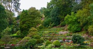 Backdrop of the garden. Quarry bank mill wilmslow Cheshire England united kingdom royalty free stock image