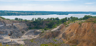 Quarry beside big river Dnepr near Dnepropetrovsk city Royalty Free Stock Images