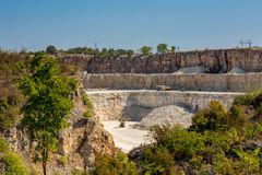 Quarry, Bulgaria, three stories, sunny autumn day stock image