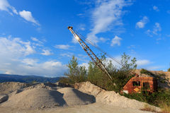 Quarry crane out of service Stock Photo