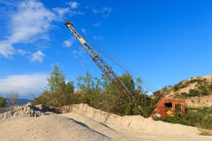 Quarry crane out of service Royalty Free Stock Image