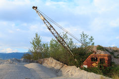 Quarry crane out of service Royalty Free Stock Photo