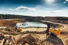 Quarry equipment with heavy duty machinery, Construction industry concept Stock Images