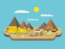 Quarry Flat Illustration. Quarry flat poster with excavator and industrial machinery on mountain background vector illustration Royalty Free Stock Photo
