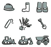 Quarry Icons Freehand 2 Color Royalty Free Stock Photo