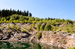 Quarry with lake Royalty Free Stock Photo